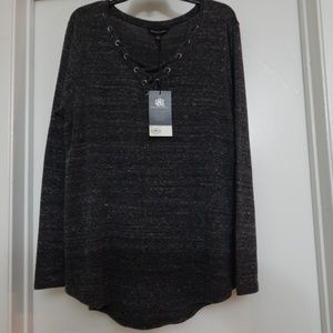 Rock & Republic Size XXL V-neck Long Sleeve Top